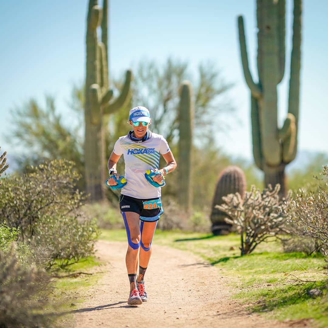 On her way to winning the Javelina 100. Photo by Howie Stern