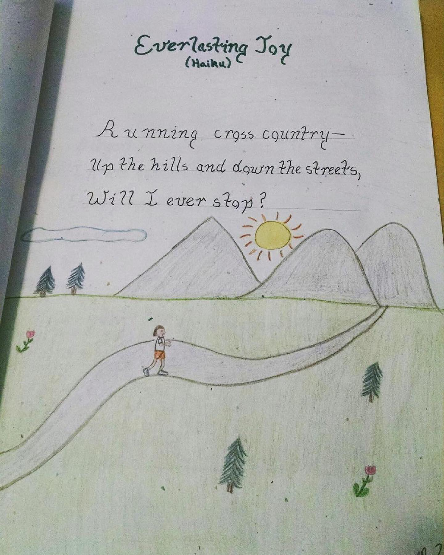 Camille has loved running since she was a child. here's a picture she made when she was child.