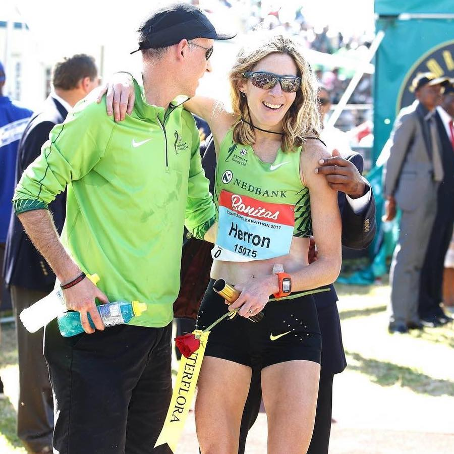 Camille with husband Conor after winning the highly competitive Comrades Marathon, which she calls her biggest achievement thus far in her running career.